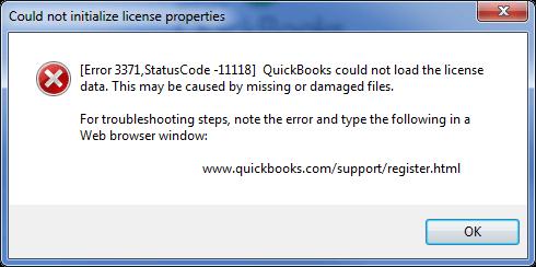 QuickBooks Error Code Code 3371 - Screenshot