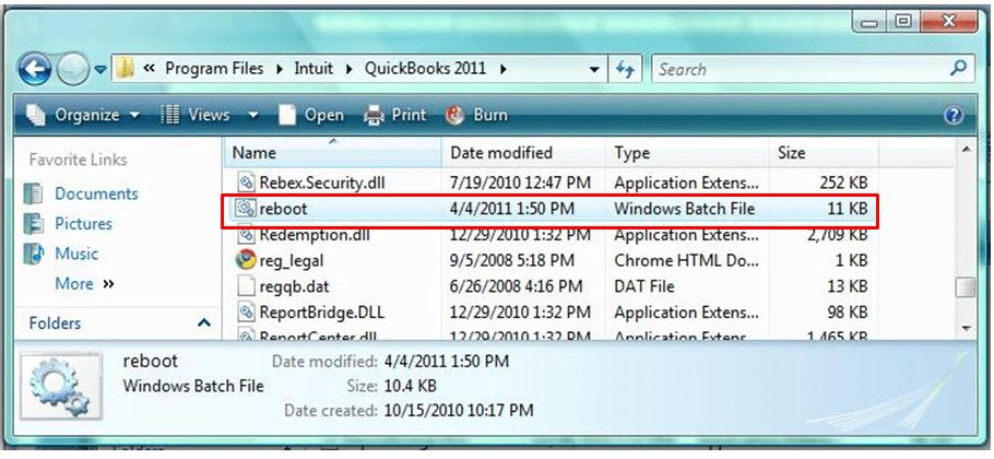 Run Reboot.bat file - Screenshot