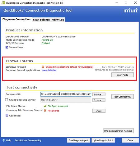 QuickBooks Connection Diagnostic Tool  (Firewall Status) - Screenshot