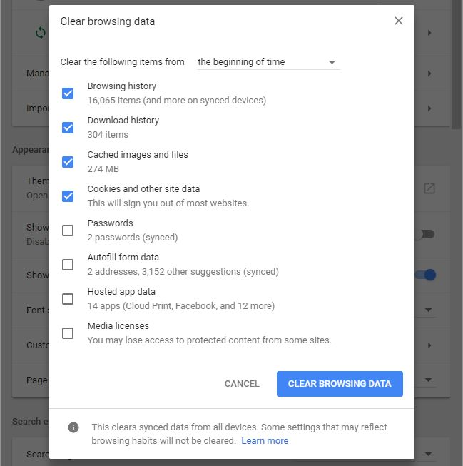 Clear Browsing data - Screenshot