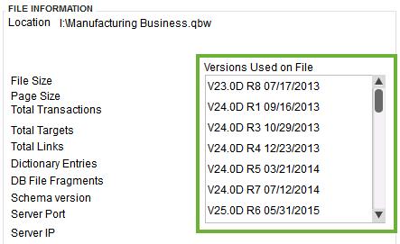 QuickBooks Desktop Version Used on Product Information Window- screenshot
