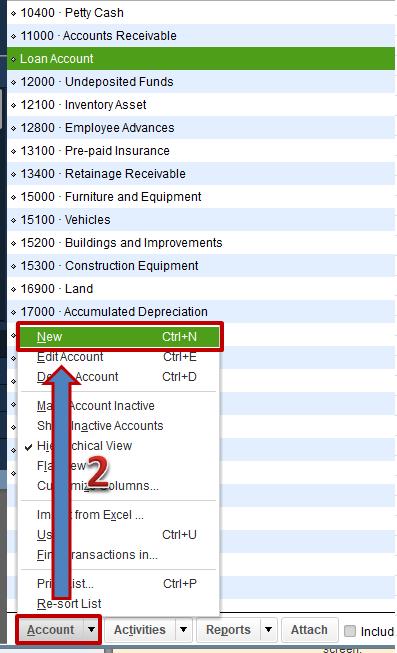 Set-up a Liability Account - Screenshot