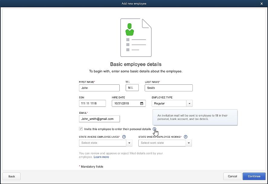 Steps to add an employee in QuickBooks Desktop for MAC - Screenshot
