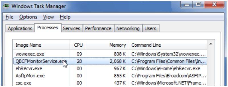 QBCFMonitorService not running - Screenshot