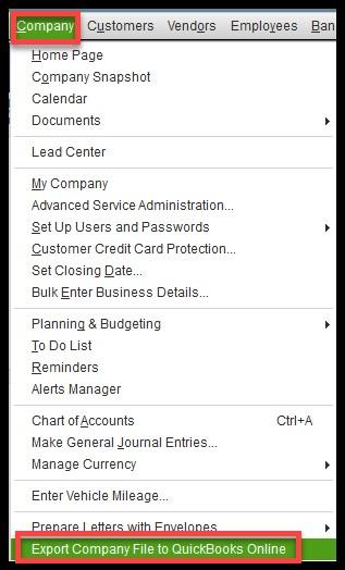 Export company file to QuickBooks online - Screenshot