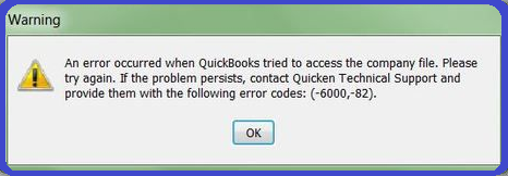 QuickBooks error code 6000 82 - Screenshot