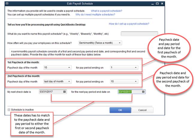 Setting the payroll schedules - Screenshot